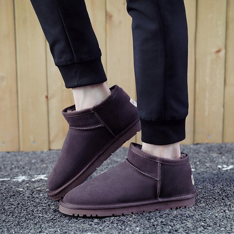 男士雪地靴男鞋2018新款冬季潮鞋子短靴加绒保暖棉鞋真皮面包鞋女