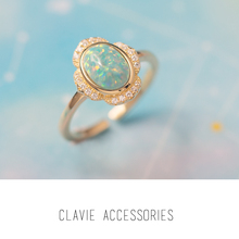 Japanese Lightweight, Luxurious and Small Popular Design Sense Japanese Artificial Opal Silver Open Ring with Adjustable Size