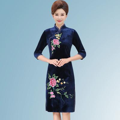 2019女装新款四五十少妇三十多岁女人穿的连衣裙春装女士春天衣服