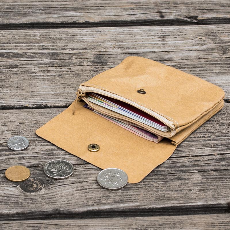 水洗牛皮纸钱包