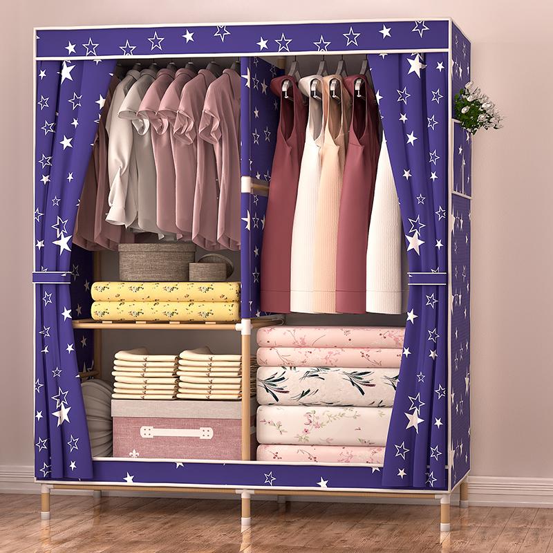 简易衣柜单人卧室衣橱组装布艺经济型实木牢固牛津布中号收纳柜子