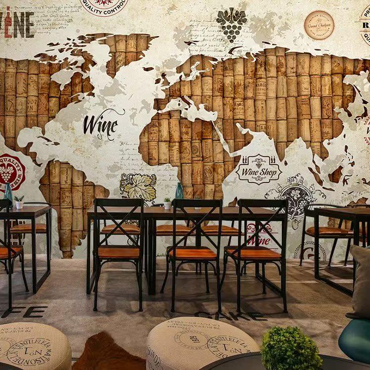 复古红酒地图墙布壁纸3D酒庄墙纸酒桶装修背景餐厅壁画酒文化酒窖