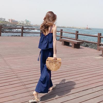 韩版时尚雪纺露背两件套女夏季吊带上衣高腰九分休闲阔腿裤套装潮
