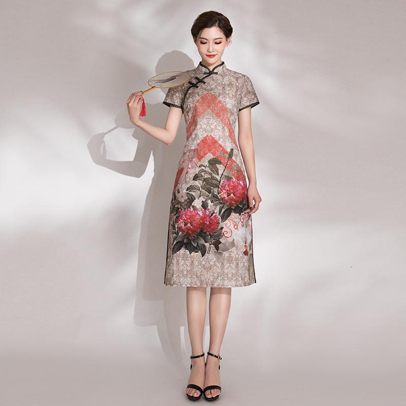 棉麻印花旗袍
