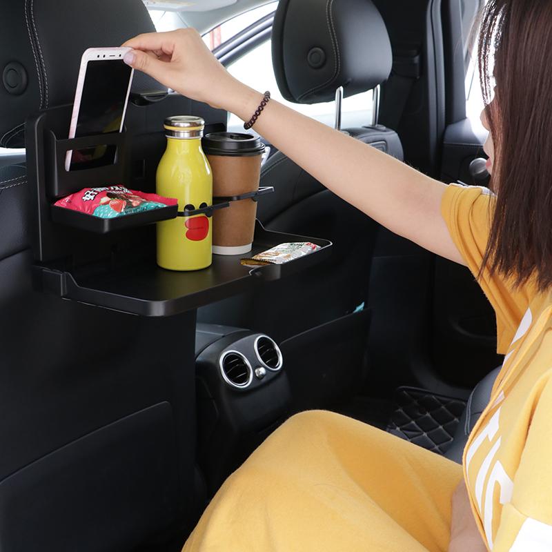 汽车内用品可爱卡通后座椅悬挂式小餐桌收纳折叠盒饮料水杯储物架