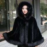 2019 winter new Haining fox fur cape in the long coat hooded cape imitation fur shawl female