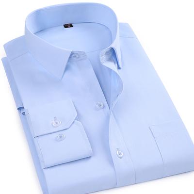 夏天男士长袖衬衫中老年人男装中年爸爸纯色免烫衬衣薄款有小码37