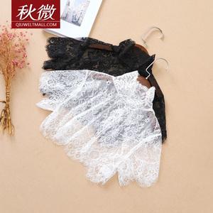 秋微夏季新款韩版睫毛蕾丝罩衫高领短款假领子女装短袖打底假衣领