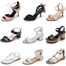 性感1字带高跟鞋 Daphne 达芙妮优雅布面水钻露趾凉鞋 1017303006