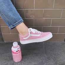 原宿风学生板鞋 情侣街拍滑板鞋 日系小清新少女粉色帆布鞋 ins爆款