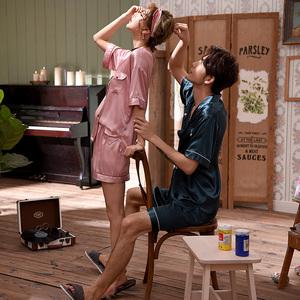 情侣睡衣女夏冰丝套装短袖两件套少女款家居服宽松男士短裤丝绸