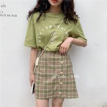 绿色格子短裙女夏学生小裙子森系矮个子半身裙显瘦显高半生裙包裙