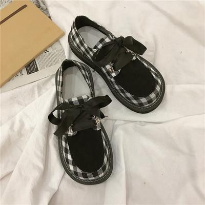 日本复古日系原宿软妹厚底松糕格子少女学生LO圆头系带单鞋洛丽塔