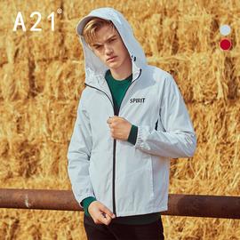 A21男装英伦连帽风衣男短款秋冬季帅气男士休闲外套潮流图片