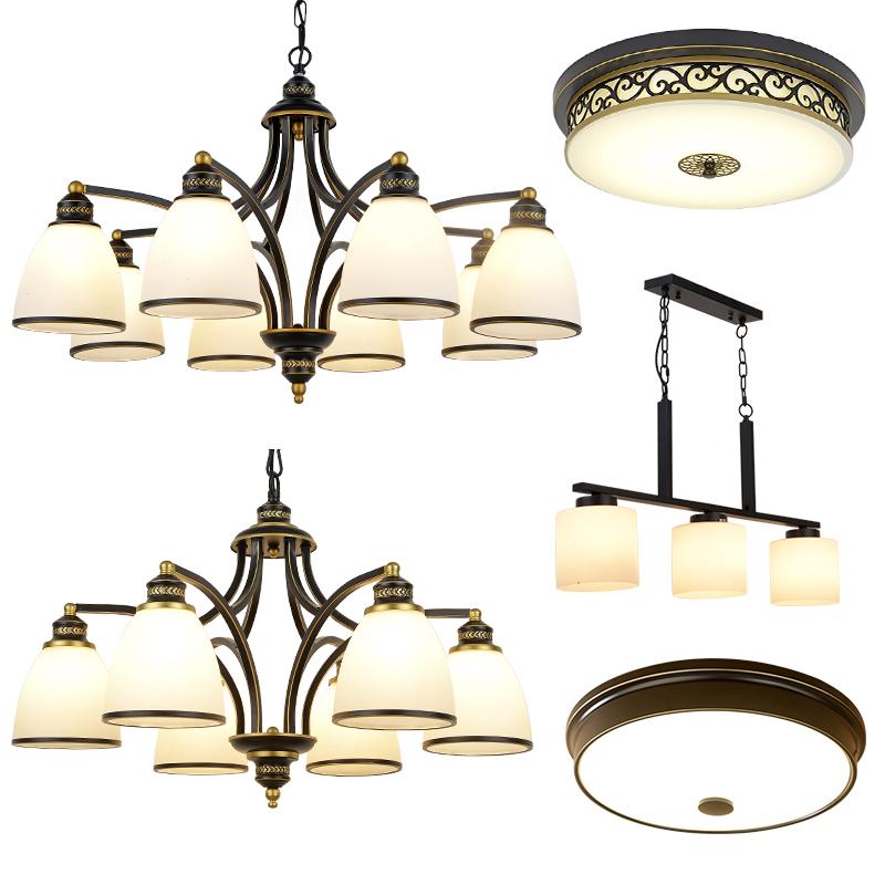 成套灯具套餐组合三室两厅两室美式简约现代客厅卧室大气家用吊灯