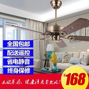 美式吊扇灯简约工业餐厅风扇灯家用客厅无灯仿古木叶带风扇的吊灯