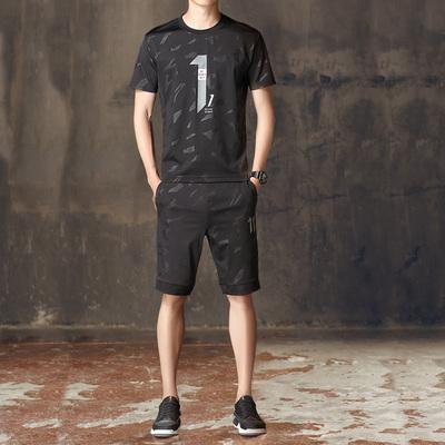 夏季冰丝运动套装男短袖短裤2018新款夏天薄款迷彩服装休闲两件套
