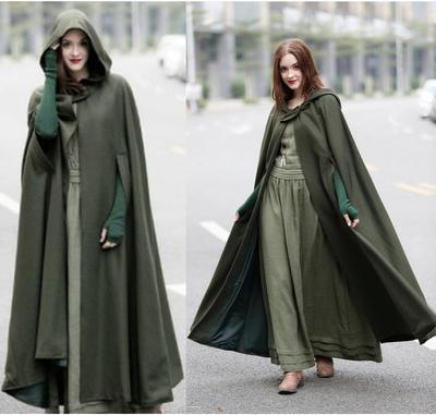 速卖通ebay欧美爆款四色连帽系带披肩加长斗篷长款呢大衣