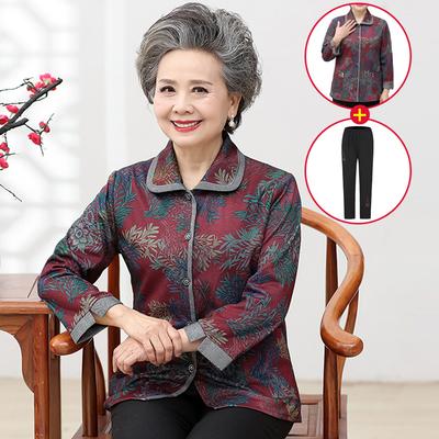 中老年女装妈妈装长袖上衣奶奶装春秋款衬衫60-70岁短款薄外套