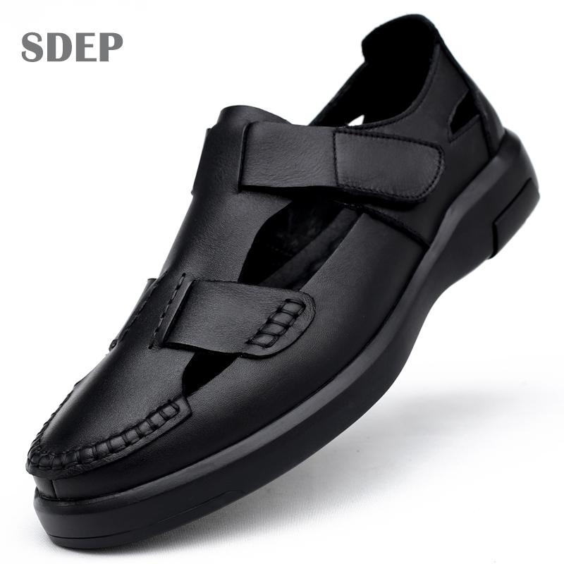 SDEP2019夏季新款男士透气镂空凉鞋头层牛皮软皮软底猪笼鞋凉皮鞋
