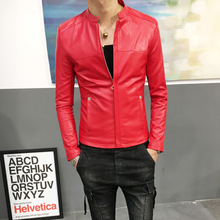 Handsome early autumn skinny jacket men's jacket Korean version of small size men's casual PU thin leather jacket