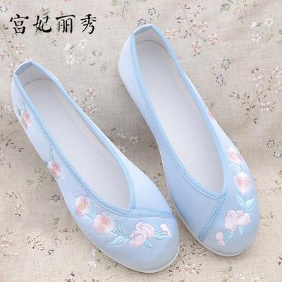 宫妃丽秀绣花鞋女老北京布鞋女平底单鞋千层底舒适跳舞鞋民族风