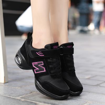 赛彩2018春夏广场舞鞋低跟舞蹈鞋女式成人软底爵士水兵健身跳舞鞋