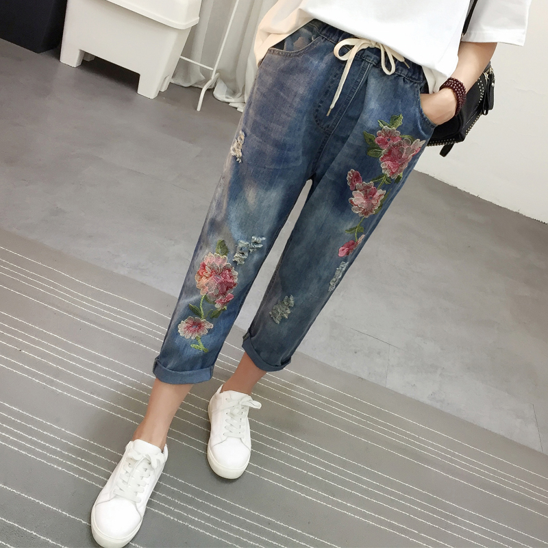 刺绣民族九分裤