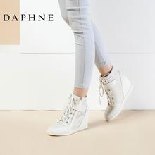 Daphne/达芙妮女靴 英伦时尚系带魔术贴内增高平底女高帮白鞋短靴图片