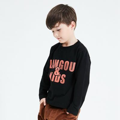 男童加厚打底衫磨毛2018秋冬季新款儿童装字母弹力纯棉长袖T恤潮
