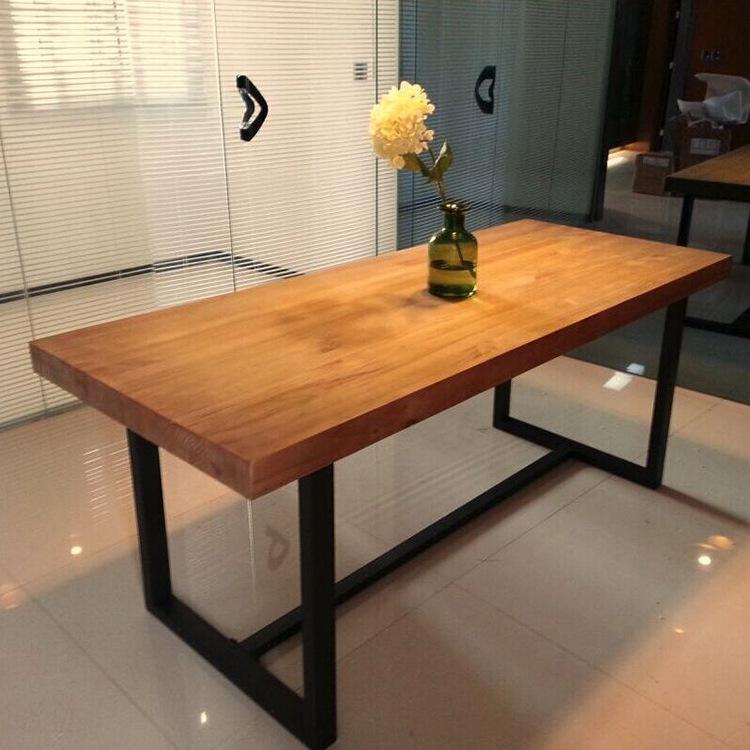 北欧实木会议桌简约办公桌咖啡厅餐桌大板洽谈桌电脑桌长方形桌子
