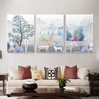 Sofa background wall living room decoration painting painting mural three sets of atmosphere high-grade modern simple warm triptych