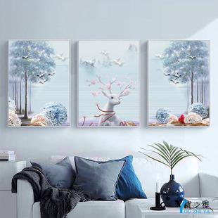 加钟挂画北欧风格 饰画卧室画 客厅大气三联画挂钟壁画沙发后面