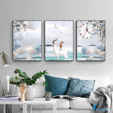Living room atmosphere triptych wall clock mural sofa behind the clock hanging painting Nordic style decorative painting bedroom painting