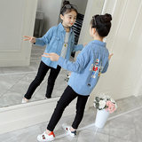 Girls spring and autumn denim shirt 2019 new Korean version of the foreign children in the big children and girls long-sleeved denim shirt