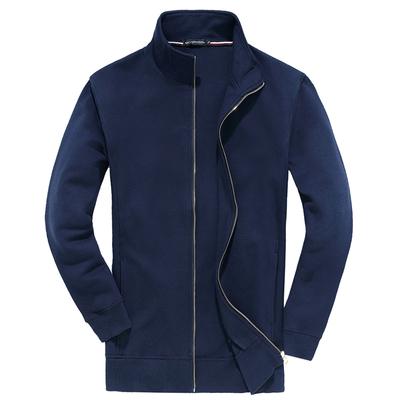 春秋加肥加大码男卫衣外套纯棉立领薄款外穿开衫运动休闲上衣夹克