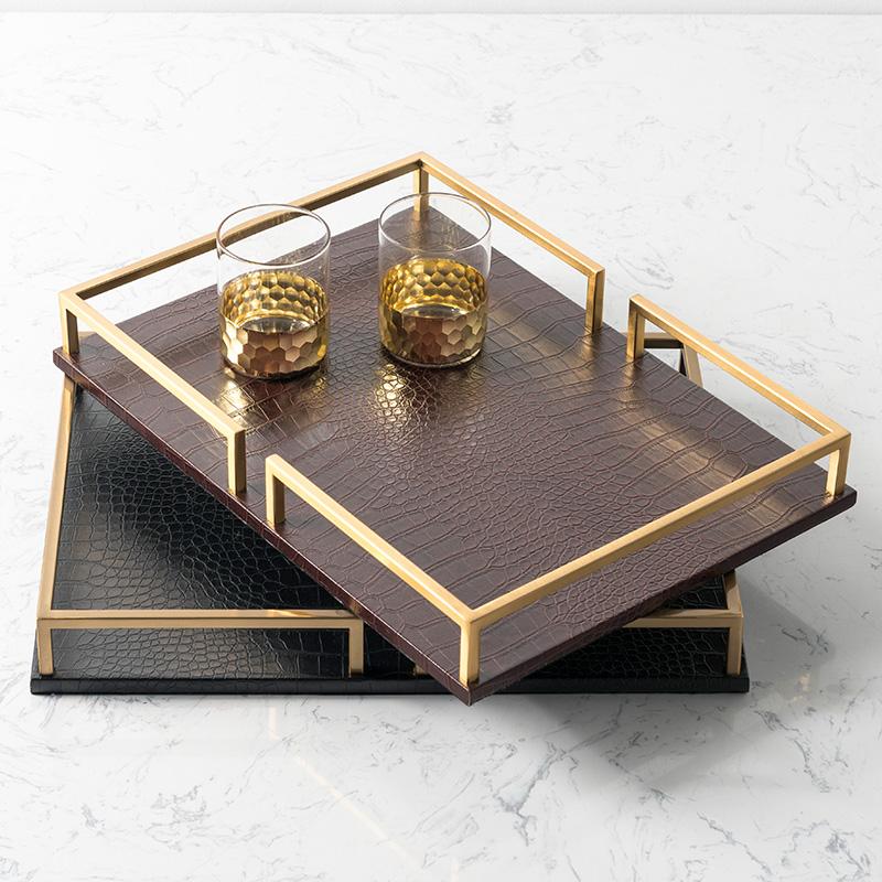 奇居良品 现代简约摆件茶几样板房家居饰品金属皮质复古托盘茶盘Y