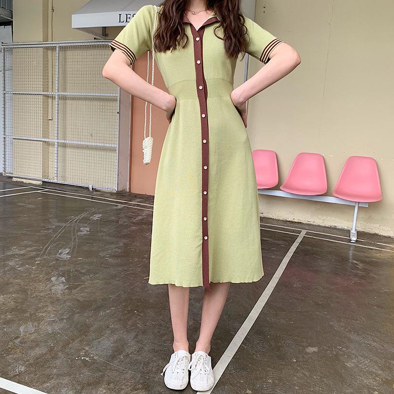 拼接撞色条纹牛油果绿连衣裙女短袖冰丝针织夏收腰v领单排扣长裙