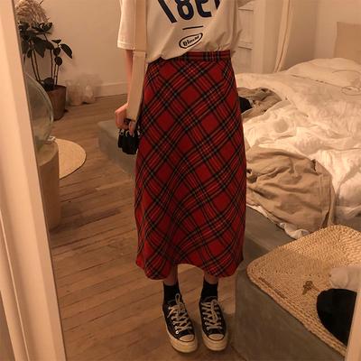 春季韩版女装复古格子圣诞毛呢半身裙高腰显瘦A字裙修身百搭长裙