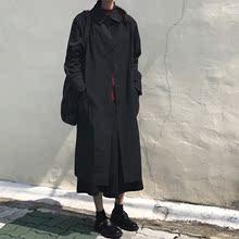 秋装韩版女装宽松慵懒中长款翻领风衣外套复古显瘦纯色单排扣开衫