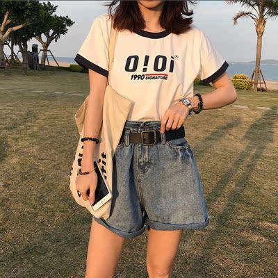 夏装韩版复古宽松字母印花撞色短袖T恤学院风显瘦短款学生上衣女