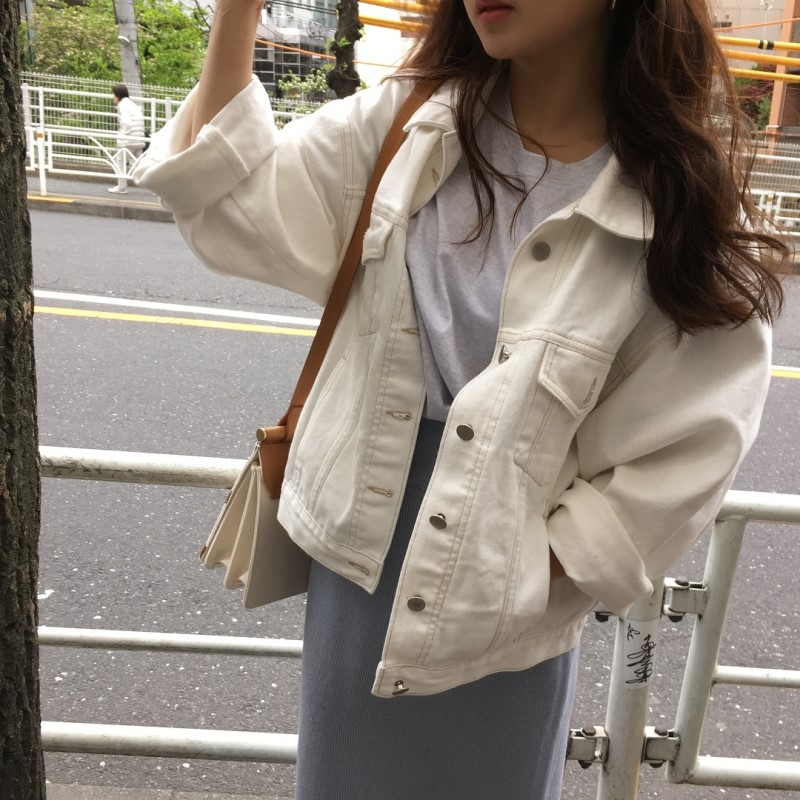 秋装 Korean women's loose retro long-sleeved denim Coat versatile thin single-breasted clip