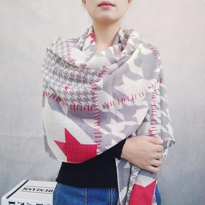 羊毛围巾女2018秋冬新品百搭气质黑白欧美商务千鸟格长款保暖披肩