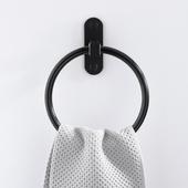 免打孔美式黑色毛巾环太空铝浴室毛巾圈黑古洗手间毛巾杆仿古挂件