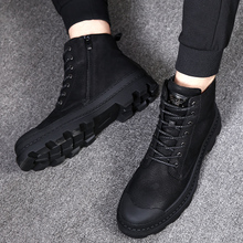 Mid-boot Men's Martin Boots Men's English Wind High-top Men's Shoes Workwear Snow Shoes Tide Winter Cotton Shoes Army Boots