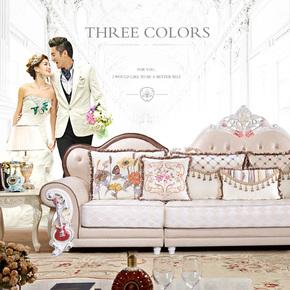 欧式布艺沙发组合123 简约实木雕花中小户型客厅家具可定做