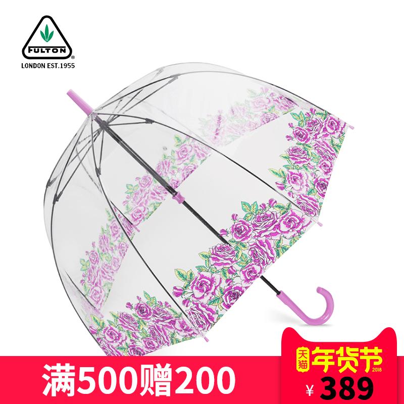 【新】英国富尔顿FULTON女王御用鸟笼伞进口礼品伞透明女士长柄伞