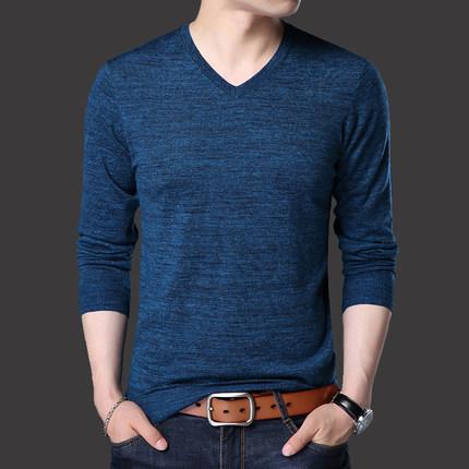 2018春季新款羊毛衫男装薄款针织衫中年男士V领毛衣套头打底小衫