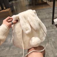 小包包女2018新款秋冬潮韩版单肩少女可爱毛绒兔子水桶斜挎包