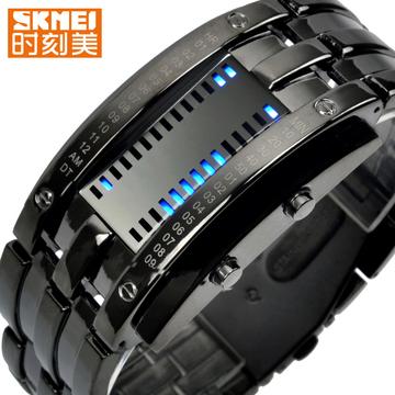 时刻美男士潮流时尚LED手表女款防水创意个性复古手表男学生腕表